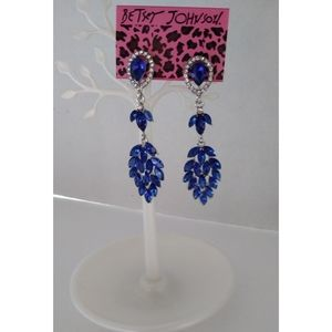 Betsey Johnson Crystal Drop Leaf Earrings